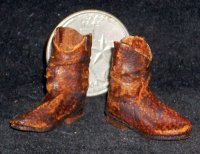 Boots Roper Style Brown Old 8782 Cowboy 1:12 Dollhouse Miniature