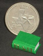 Book Gold on Green Embossed #P1006G Dollhouse Miniature Books