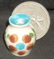 Folk Art Vase Mexican TC405-1F 1:12 Doll Miniature Flowers