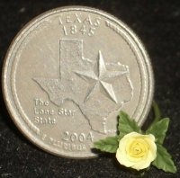 Yellow Rose of Texas Single Stem 1:12 Dollhouse Miniature Flower