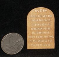 Gravestone / Tombstone Pease Shelled Out 1:12 Miniature