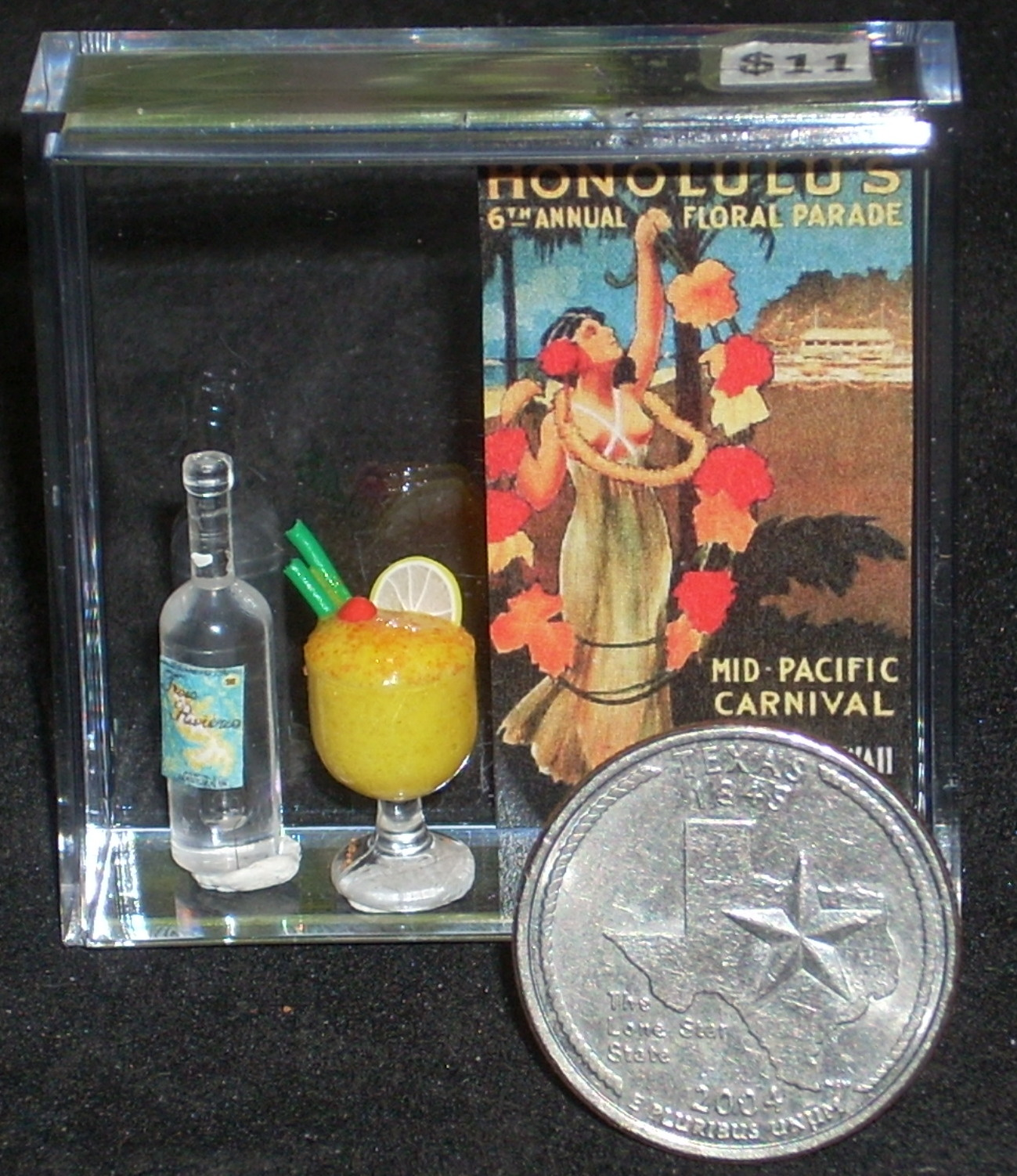 Luau Poster Alcohol Bottle & Drink 1:12 Miniature Hawaii 8108