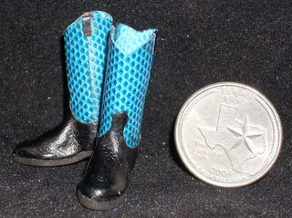 Boots Blue Snakeskin 1:12 Western Miniature Cowboy / Cowgirl