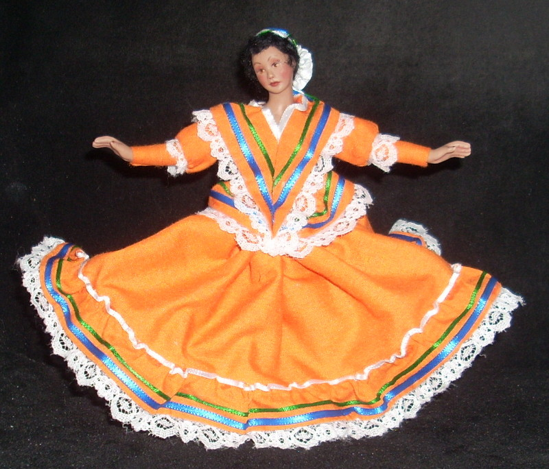 Ballet Folklorico - Jalisco Orange Dancer Doll #1