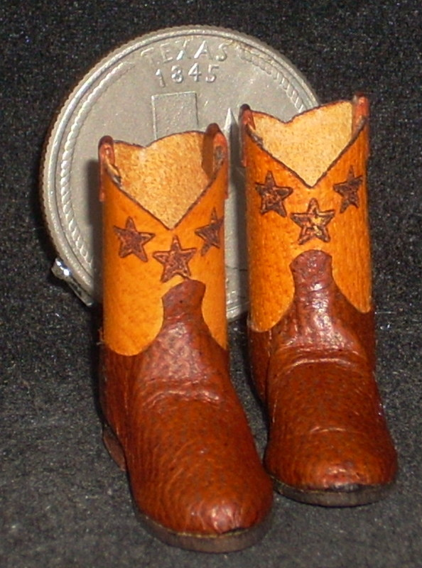 Boots Roper Style Brown & Orange Cowboy Star 9510 1:12 Miniature