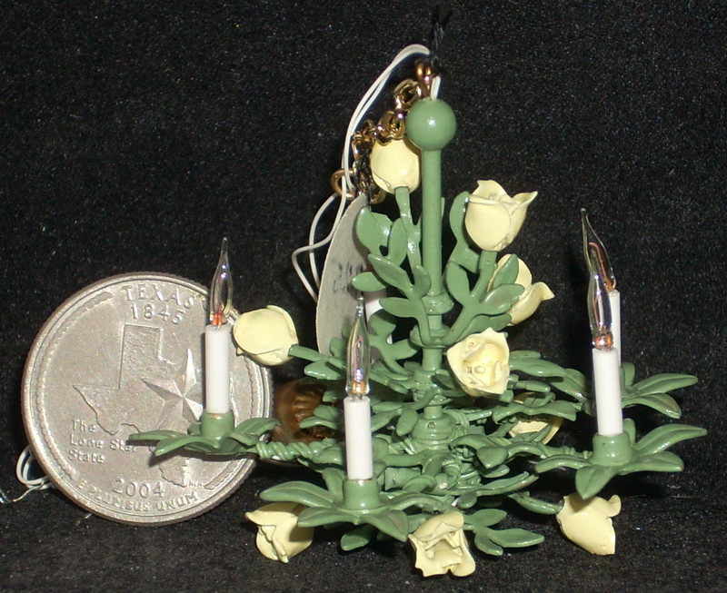 Yellow Rose of Texas Chandelier 1:12 Miniature Lighting Lamp
